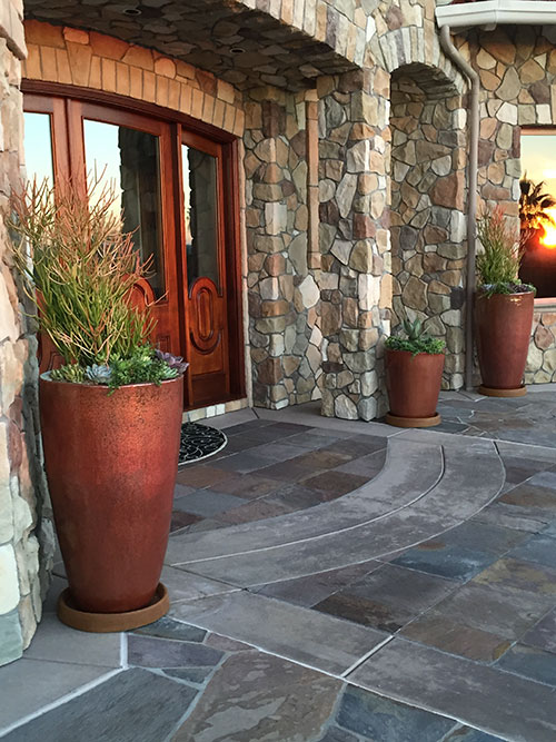 Matte Red Planters at Entrance